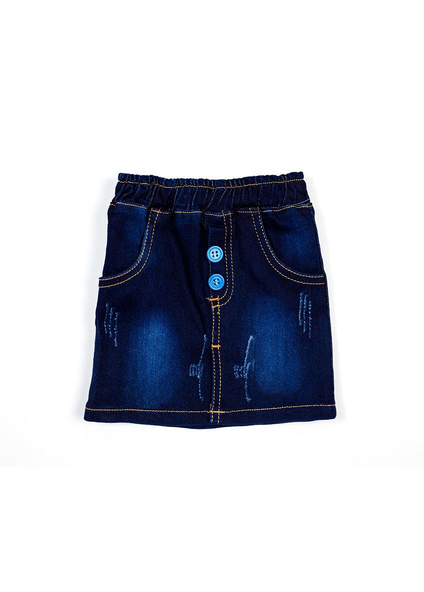 Girls Blue Solid Denim Skirt