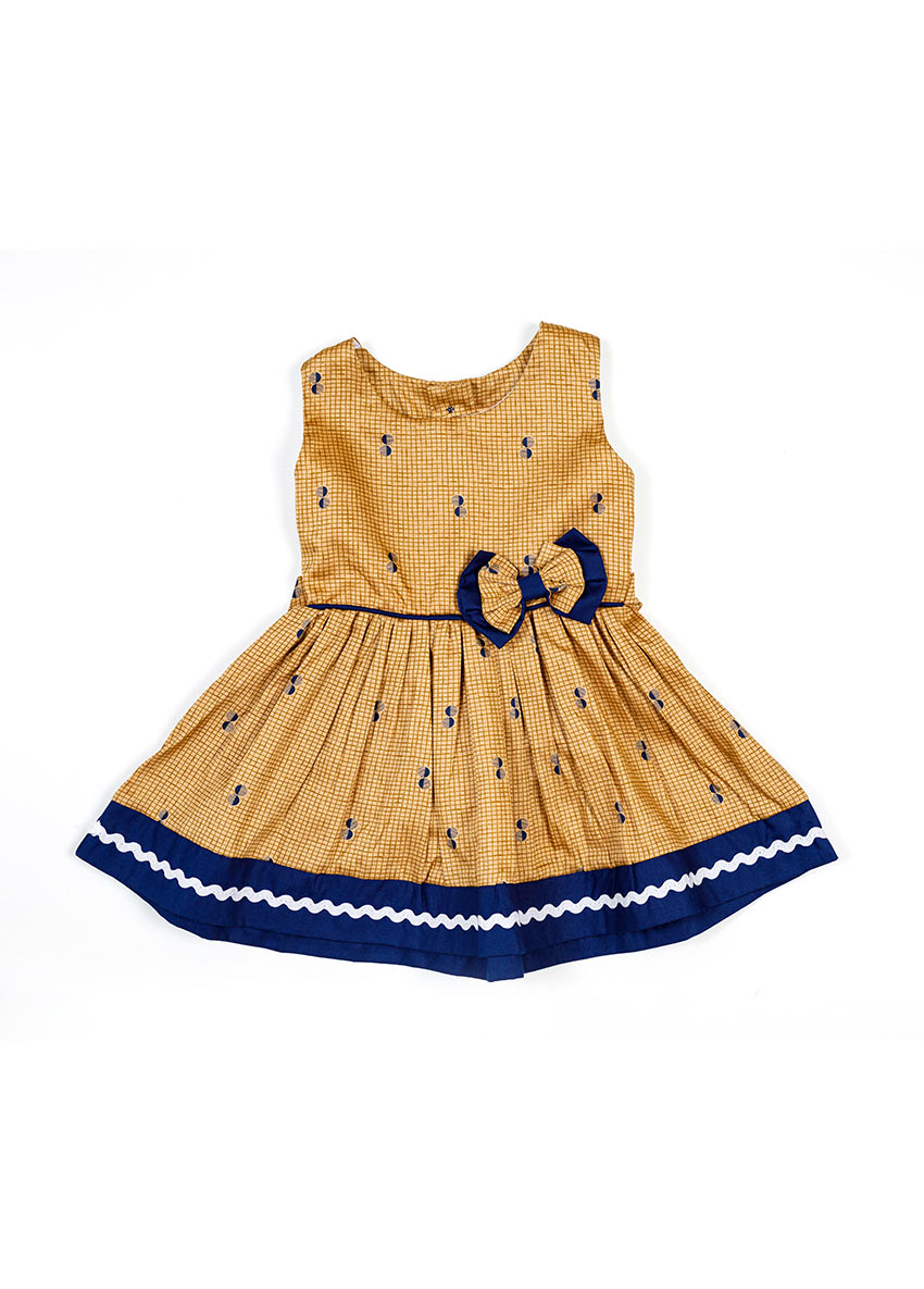 Girls Peach & Blue Floral Printed Dress
