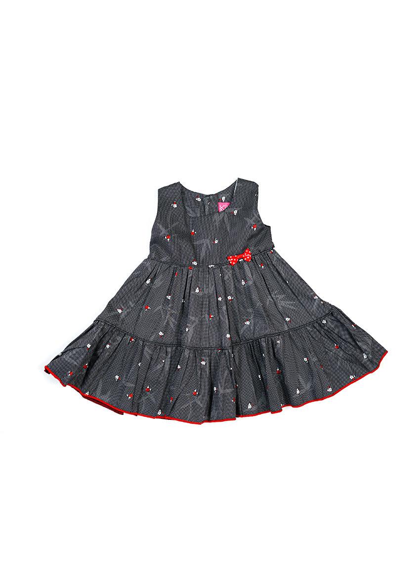 Girls Black Printed Dress