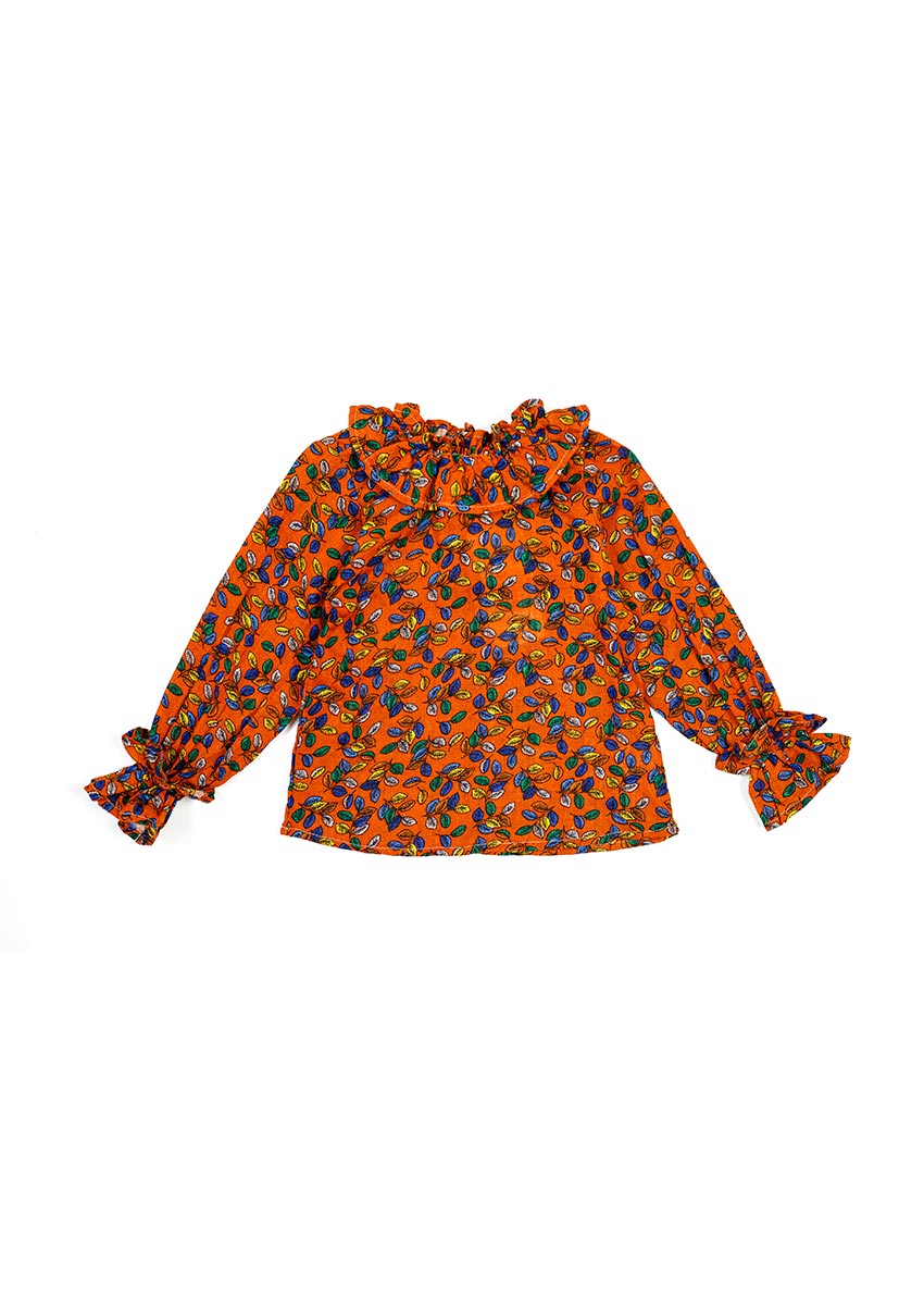 Girls Brown Floral  Print Top