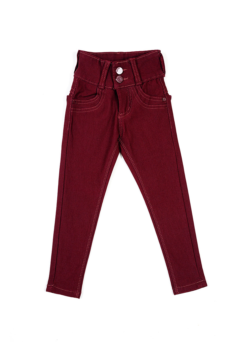 Girls Maroon Mid-Rise Clean Look Stretchable Jeans