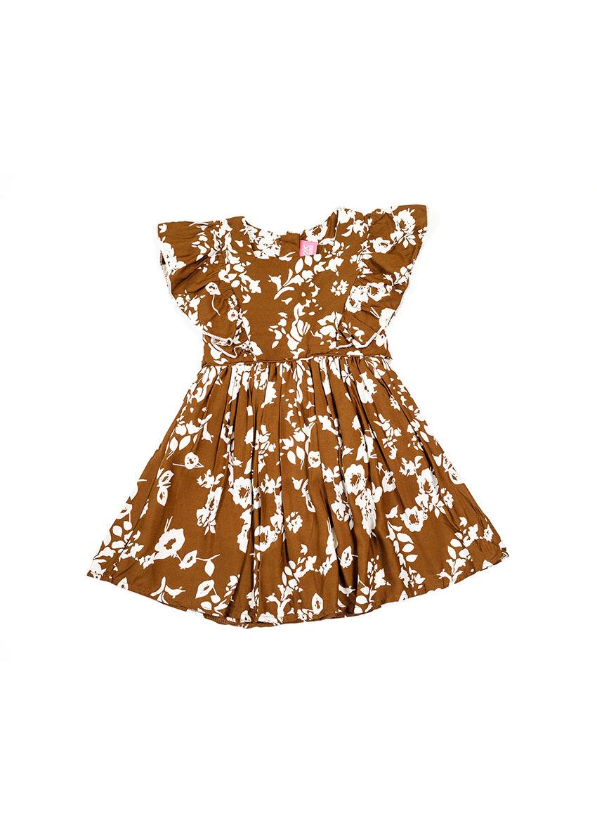Girls Brown Floral Printed Dress