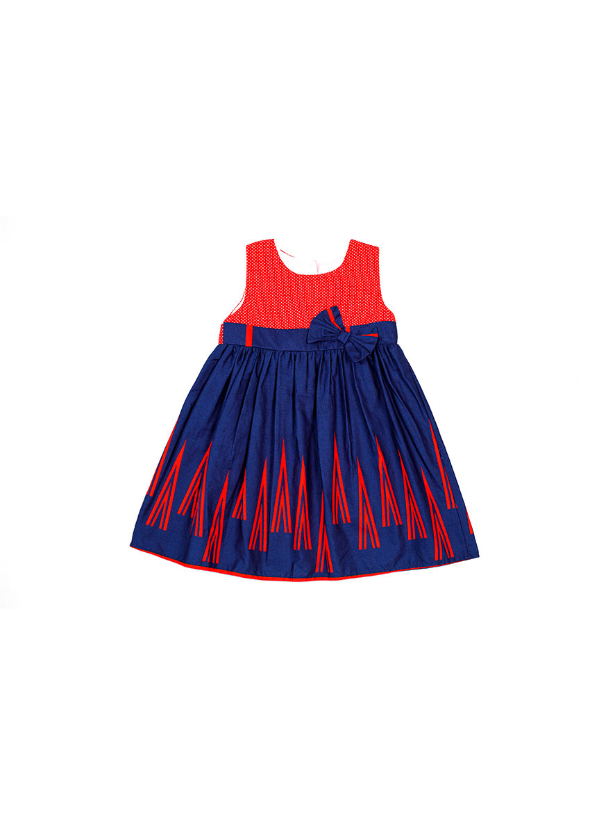 Girls Red and Blue Printed Dress