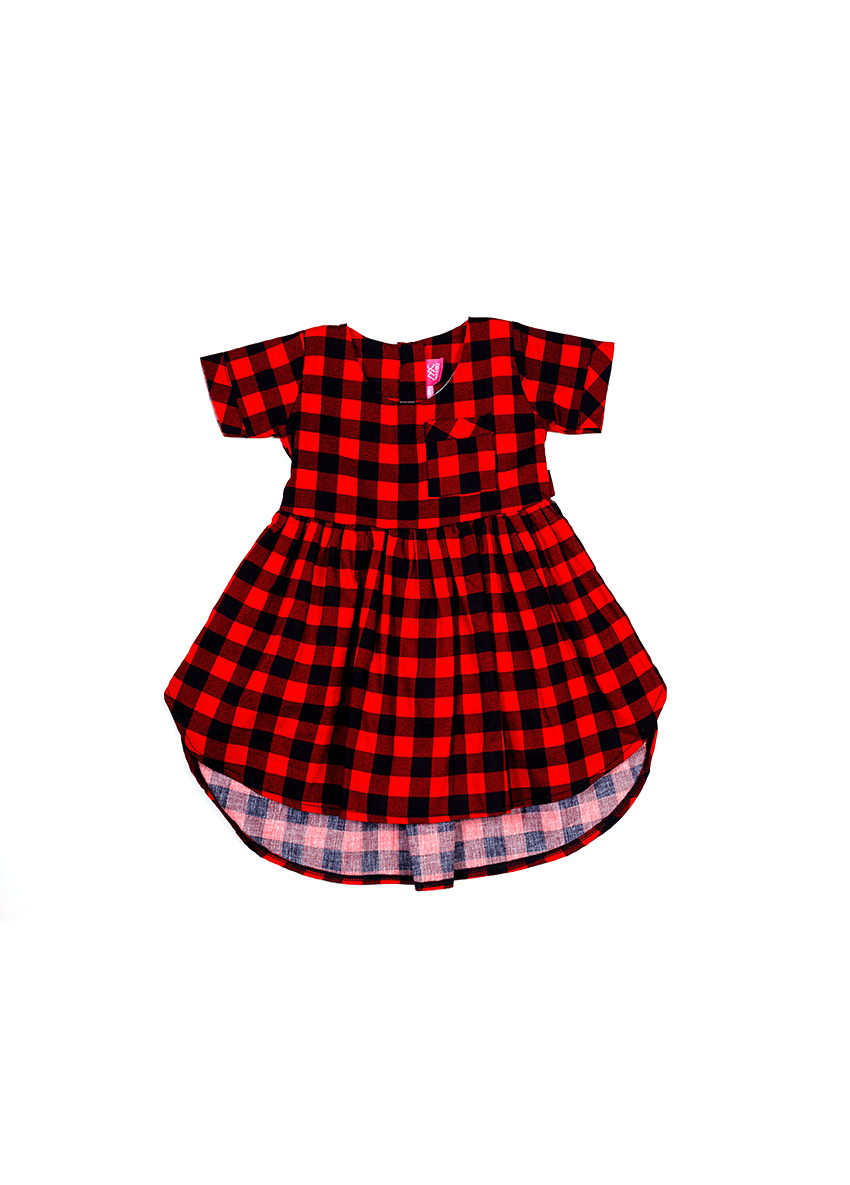 Girls Red Checked Printed Dress