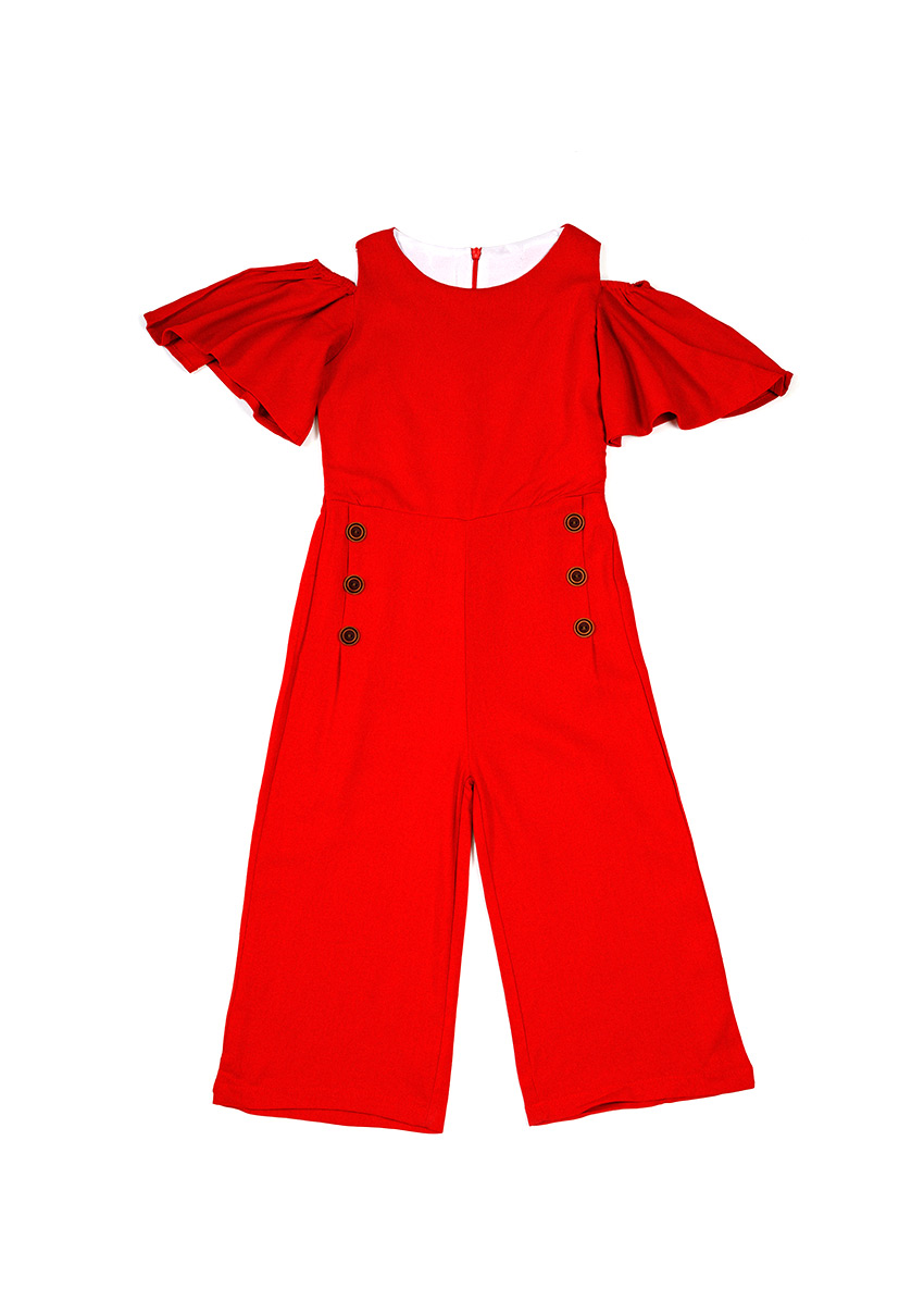 Girls Red Solid Culotte Jumpsuit
