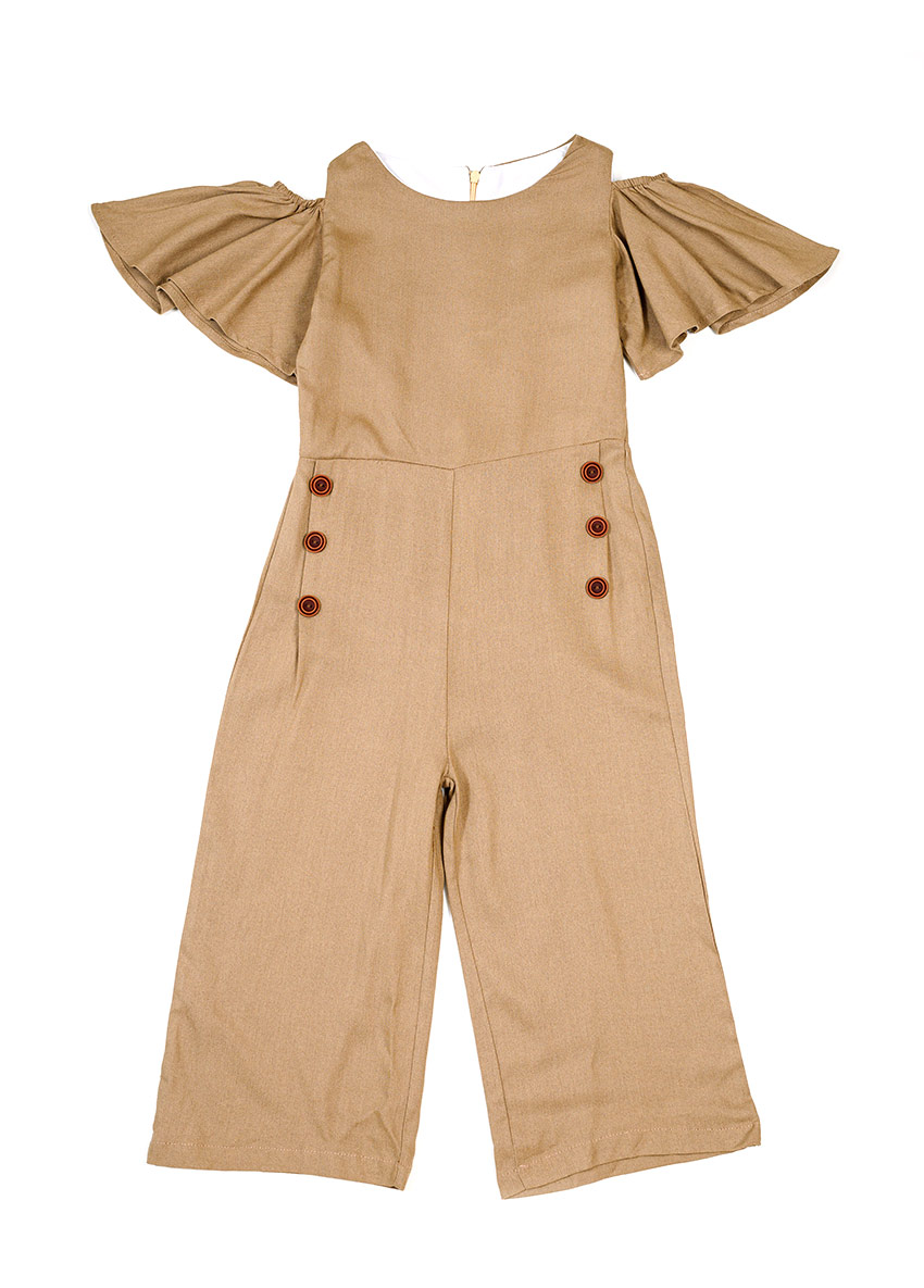 Girls Brown Solid Culotte Jumpsuit