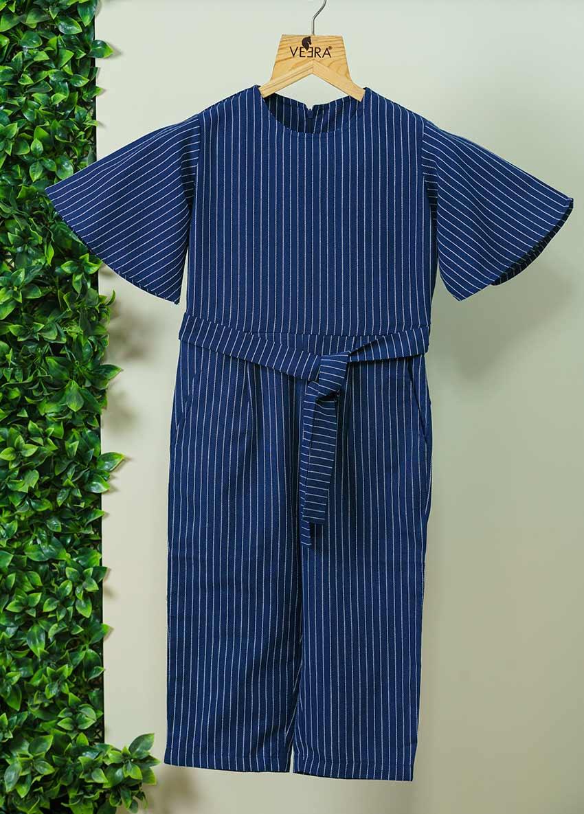 Girls Striped Basic Jumpsuit