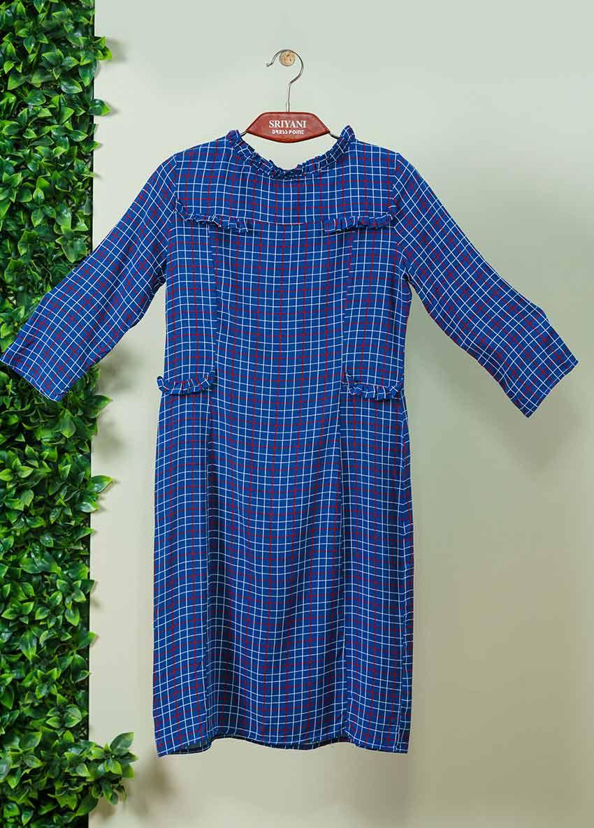 Girls Blue Checked Printed Dress