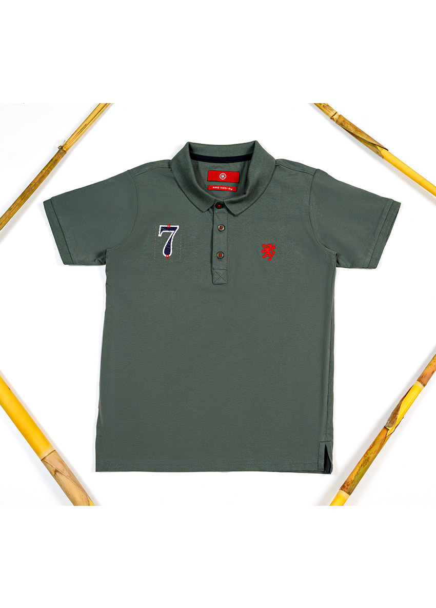Boys Green Polo Collar T-shirt