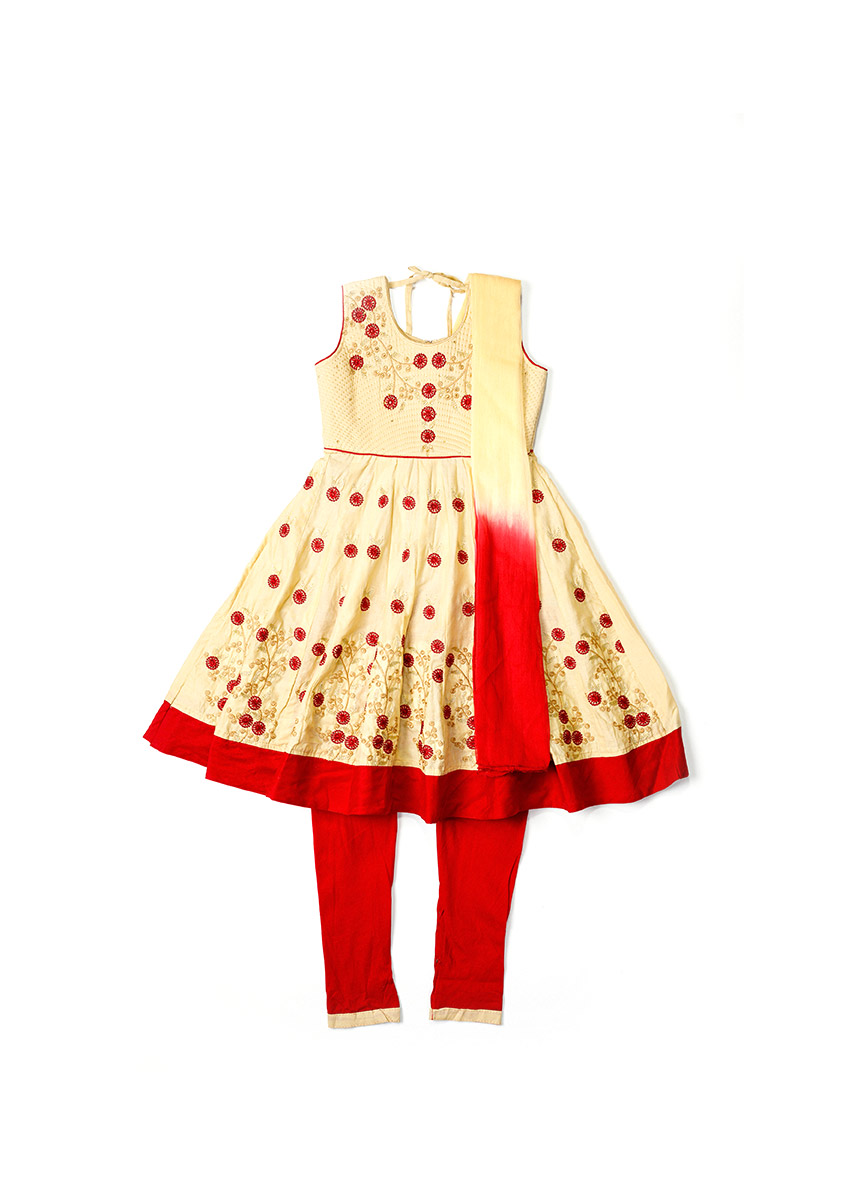 Girls Peach & Red Embroidered Kurta with Trousers & Dupatta