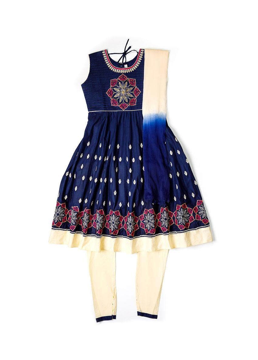 Girls Dark Blue Embroidered Kurta with Trousers & Dupatta