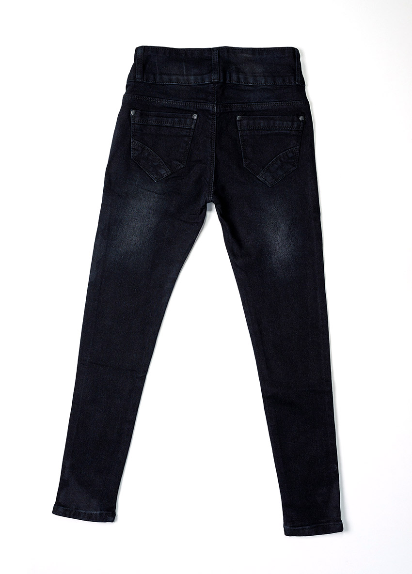 Girls Black Mid-Rise Clean Look Stretchable Jeans