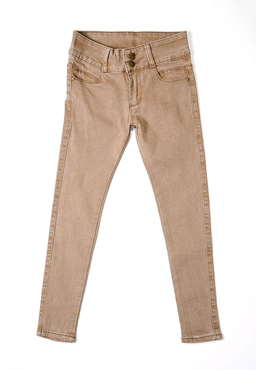 Girls Light Brown Mid-Rise Clean Look Stretchable Jeans