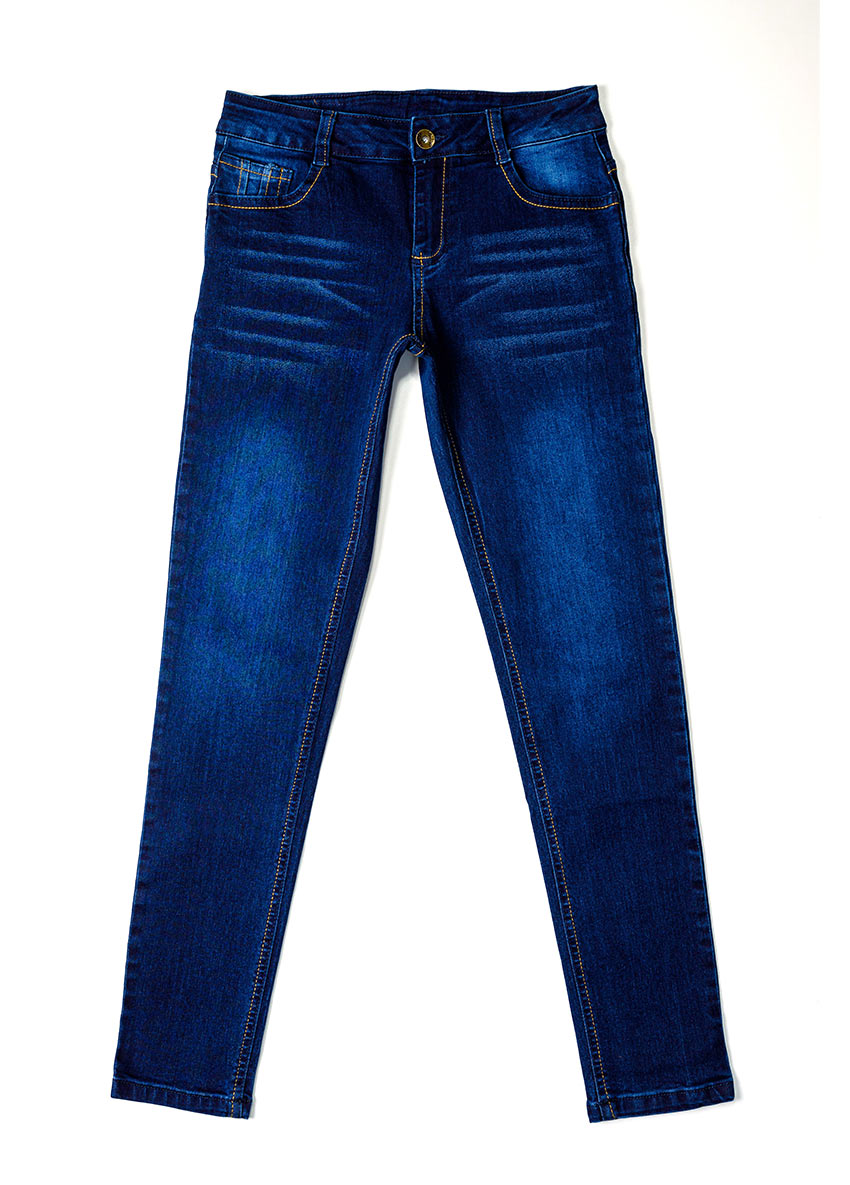 Girls Dark Blue Mid-Rise Clean Look Stretchable Jeans