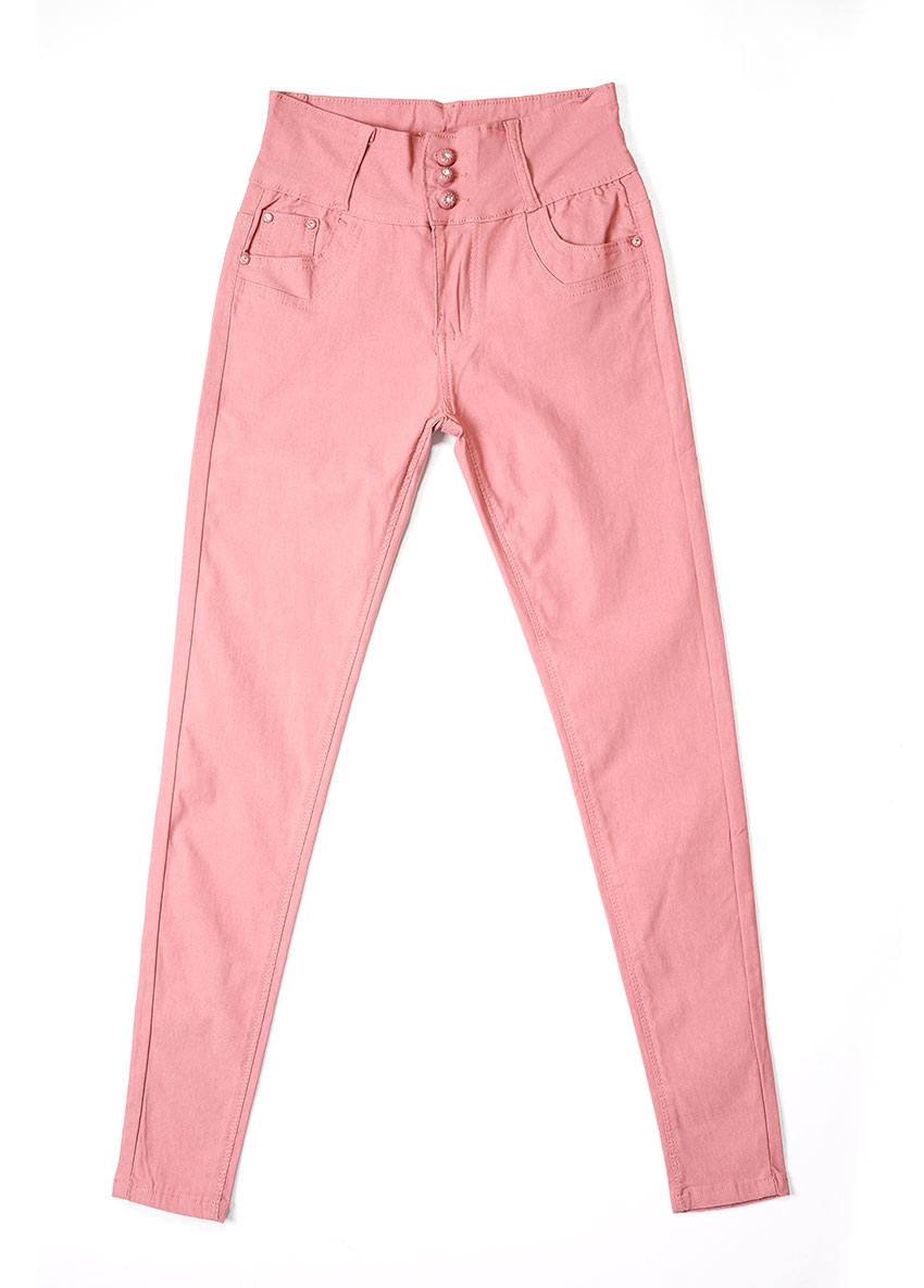 Girls Pink Mid-Rise Clean Look Stretchable Jeans