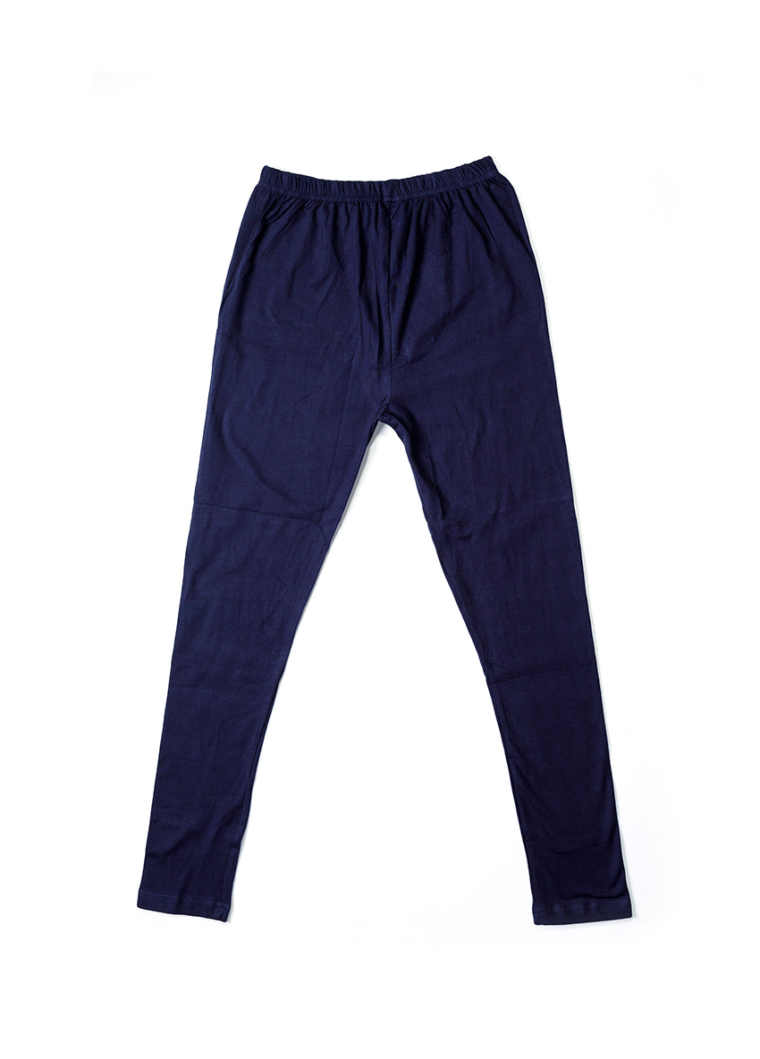 Girls Navy Blue Solid Ankle-Length Leggings