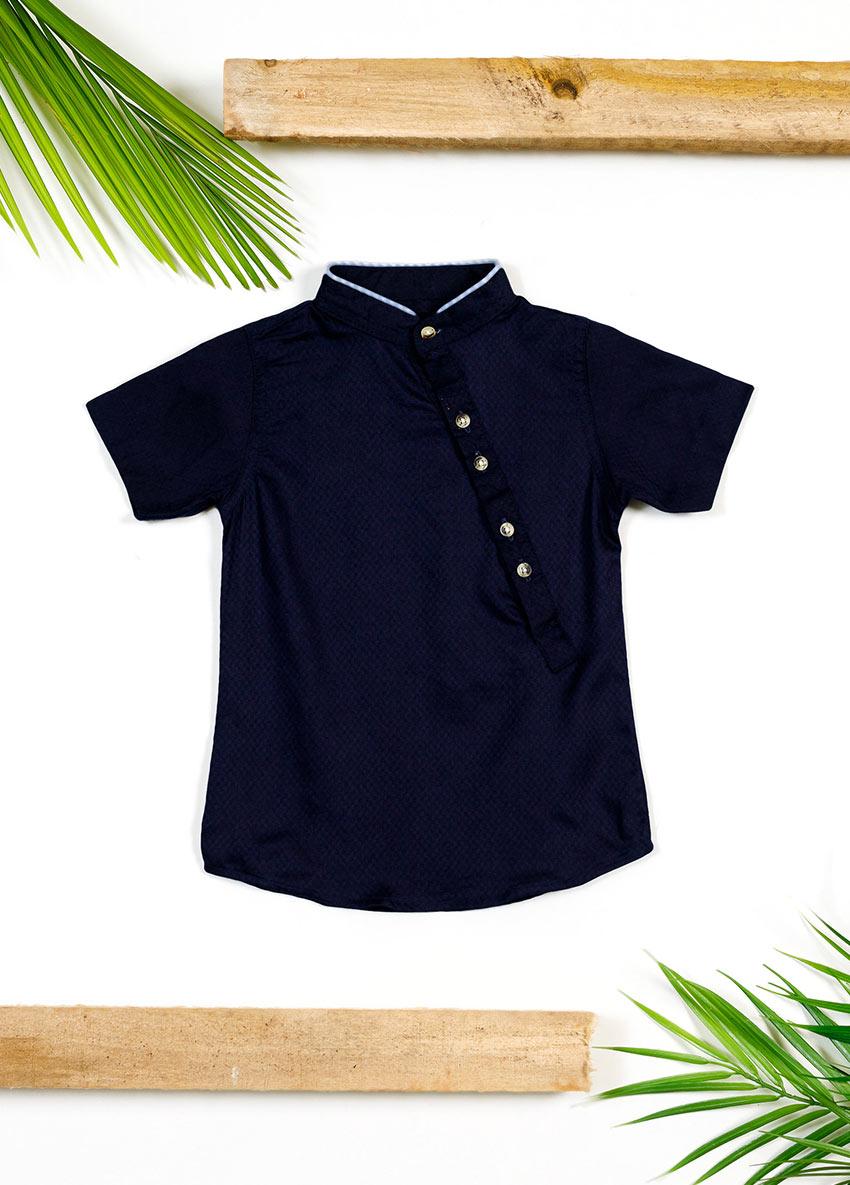 Boys Navy Blue Polo Collar T-shirt