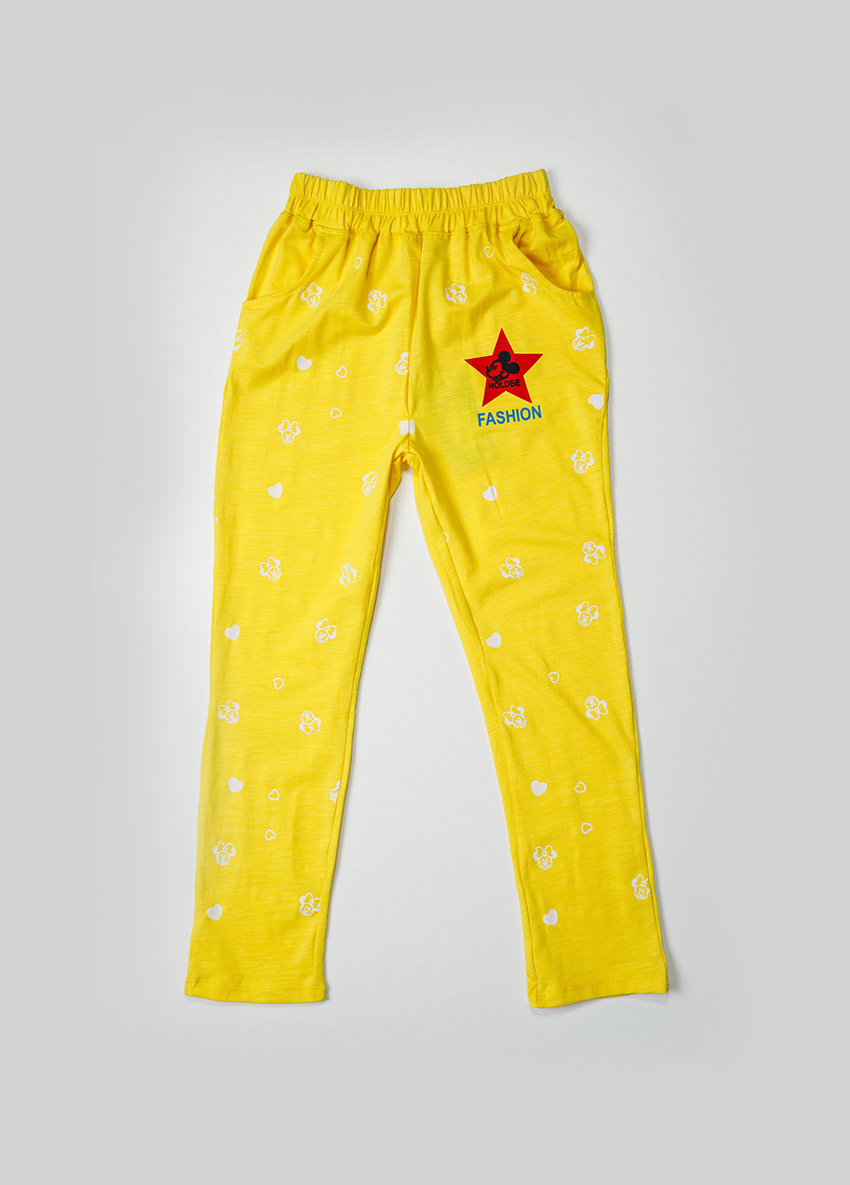 Girls Yellow Solid Ankle-Length Leggings