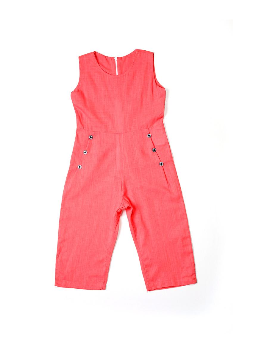 Girls Pink Solid Culotte Jumpsuit