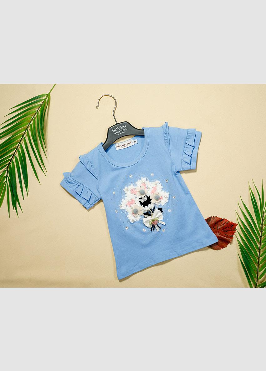 Girls Blue Printed Round Neck T-shirt