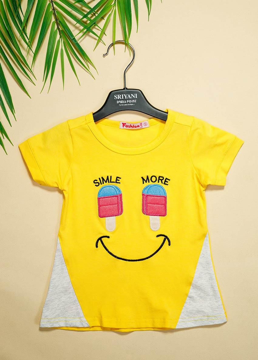 Girls Yellow Printed Round Neck T-shirt