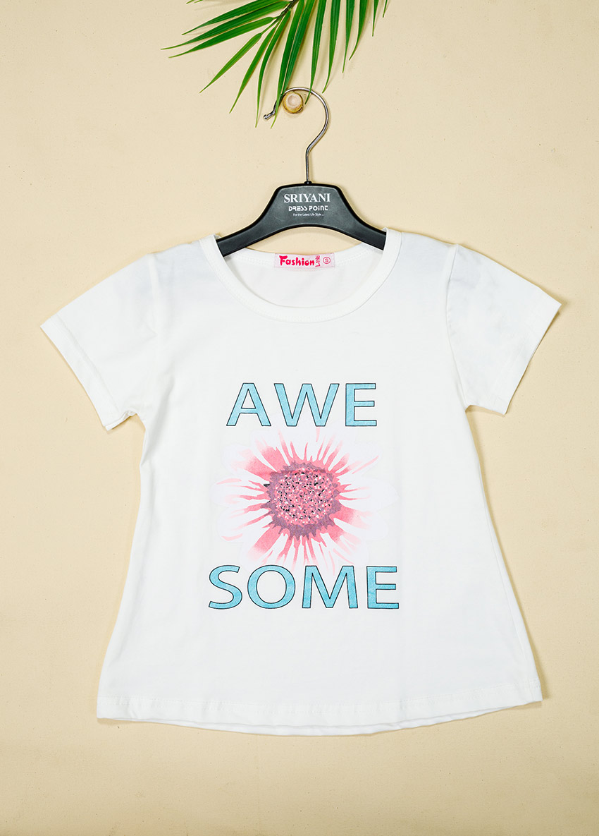 Girls Printed Round Neck T Shirt