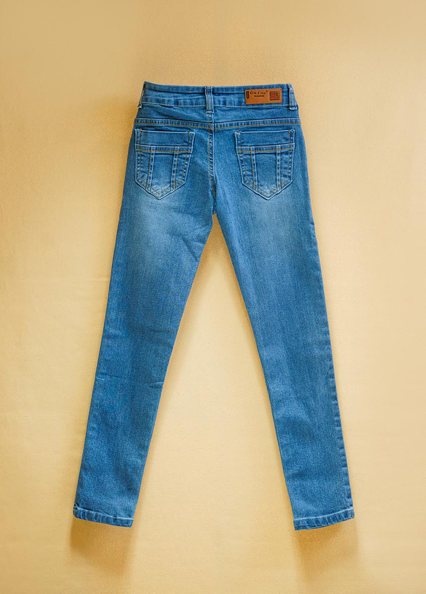 Girls Light Blue Mid-Rise Clean Look Stretchable Jeans