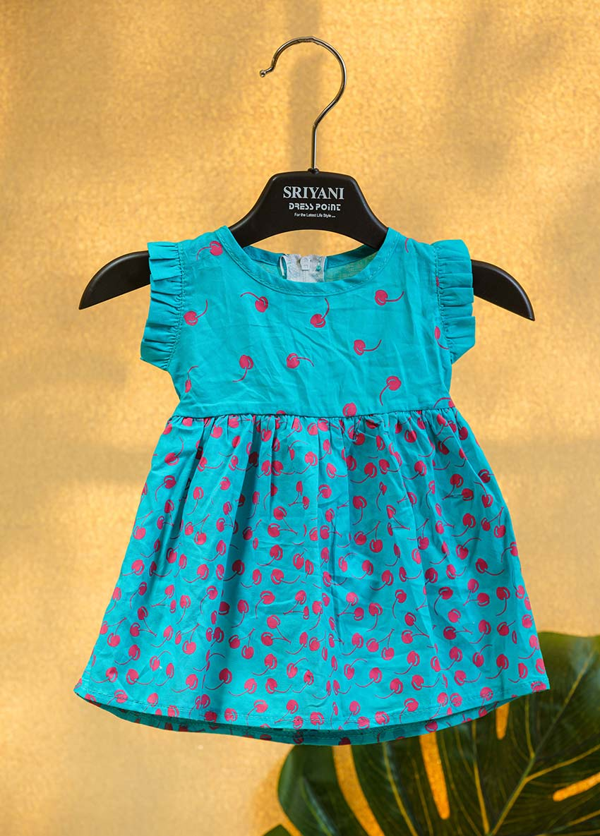 Girls Green-Colored Printed Fit and Flare Dress