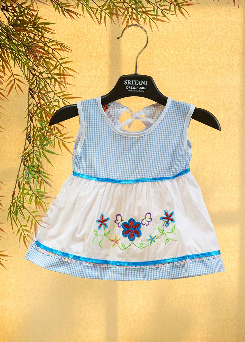 Girls white and Light Blue -Coloured Printed Fit and Flare Drees