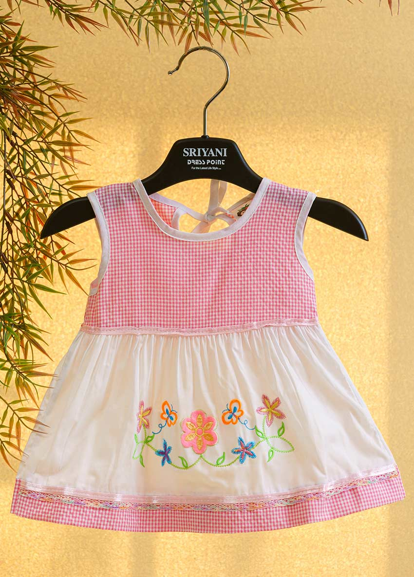 Girls White and Pink-Coloured Printed Fit and Flare Drees