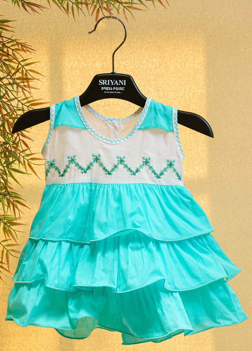 Girls White and Green-Coloured Printed Fit and Flare Dress