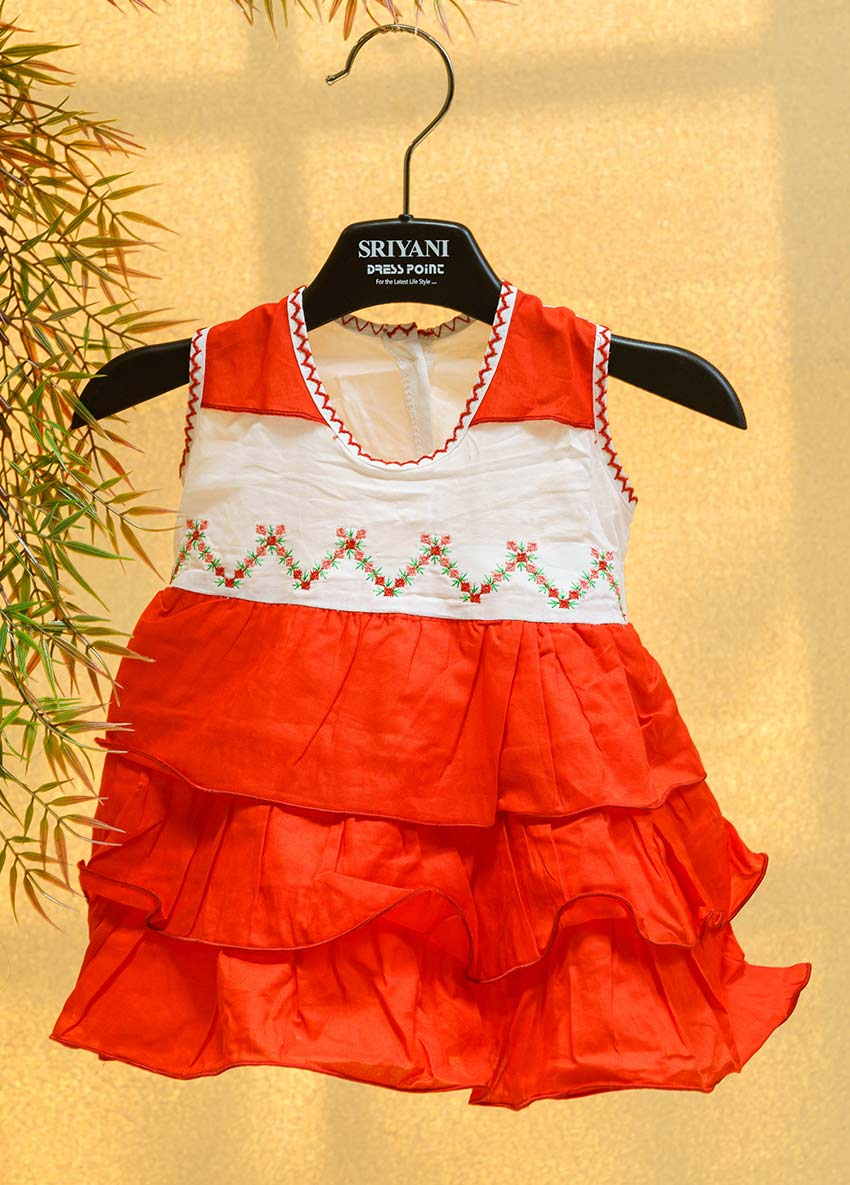 Girls Red and White Floral Self-Design layered A-Line Dress with Embroidered Detail