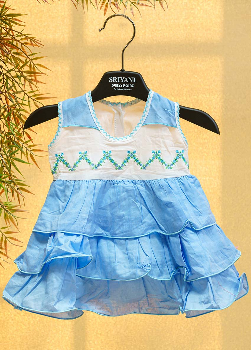Girls Blue and White Floral Self-Design layered A-Line Dress with Embroidered Detail