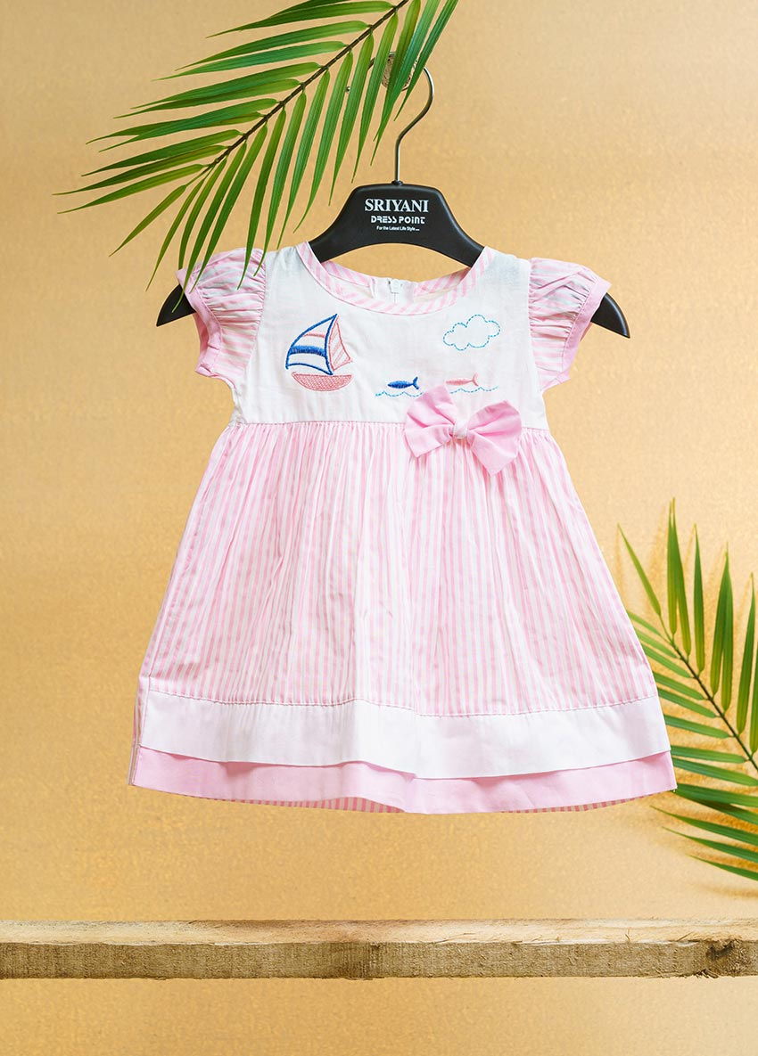 Girls White and Ping-Coloured Printed Striped Fit   Drees
