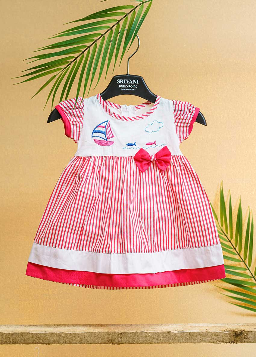 Girls White and Red-Coloured Printed Striped Fit   Drees