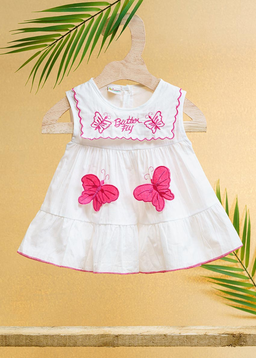 Girls White and Red-Coloured Printed Fit and butterfly Drees