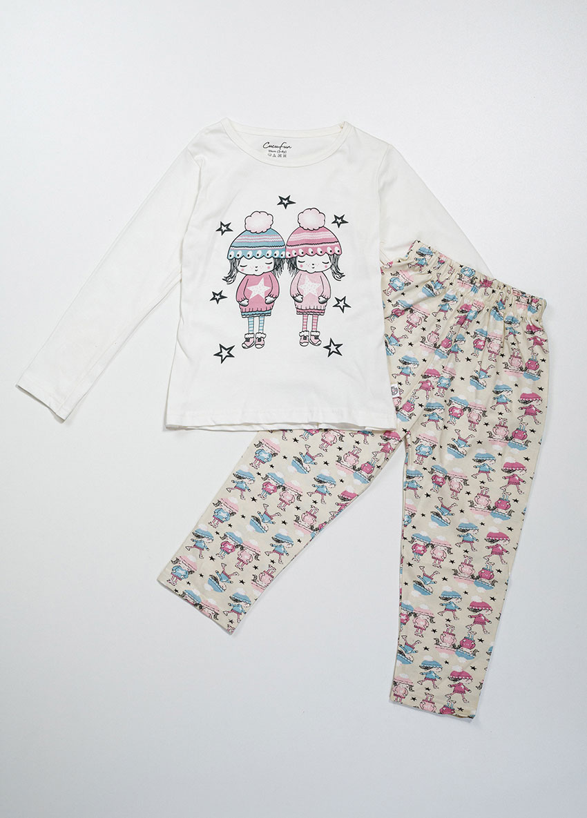 Girls  White and Cream  Printed Jersey Pajamas