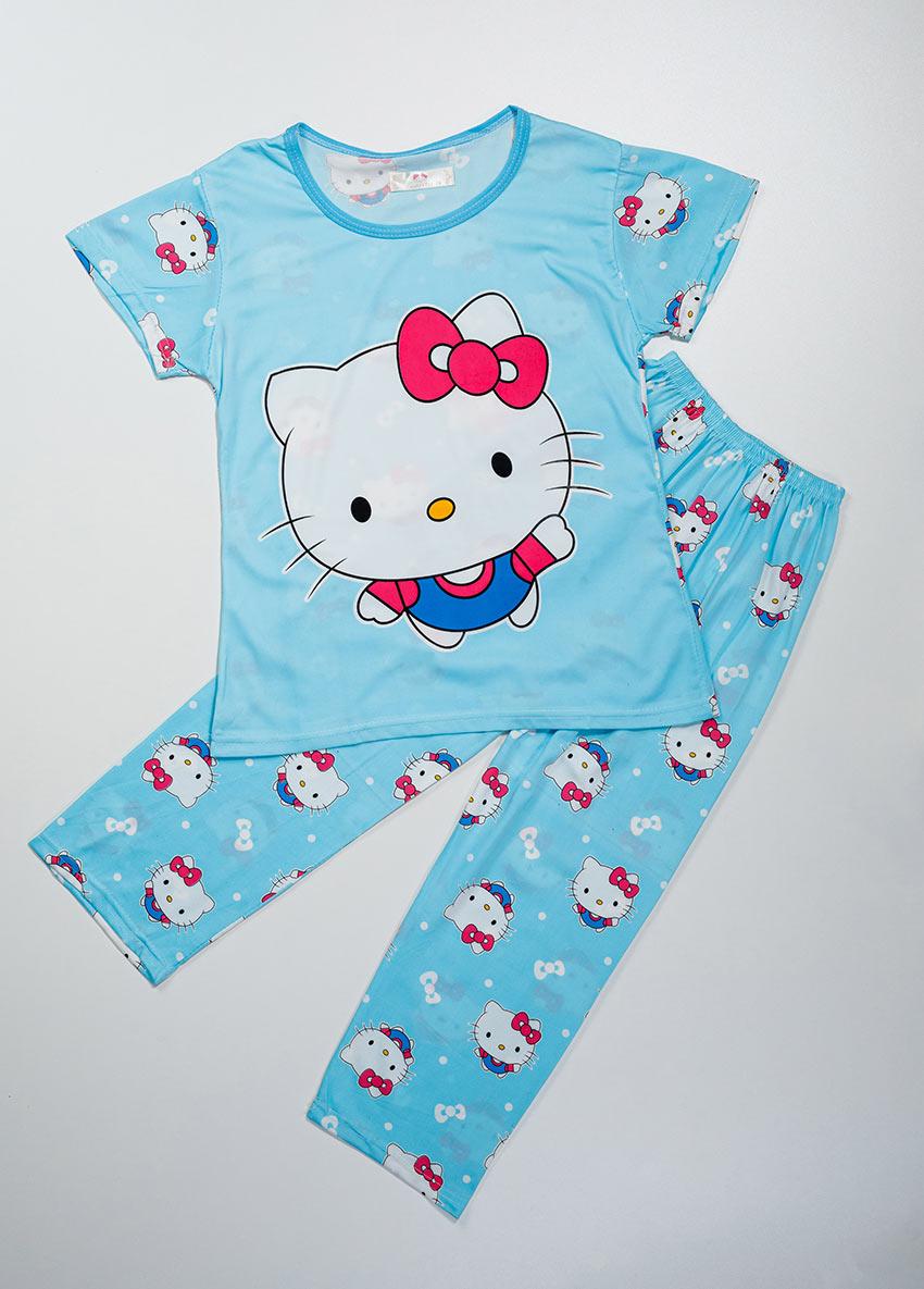 Girls Blue Printed Jersey Pajamas