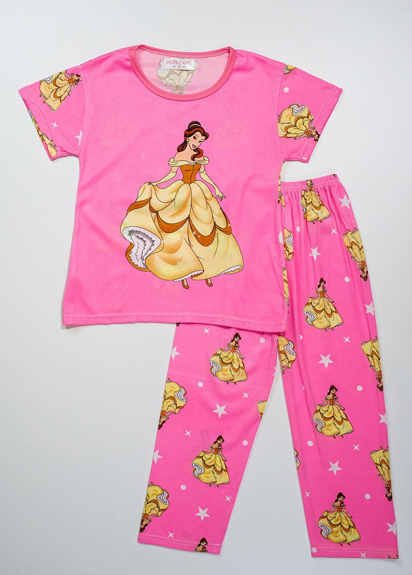 Girls Pink Printed Jersey Pajamas