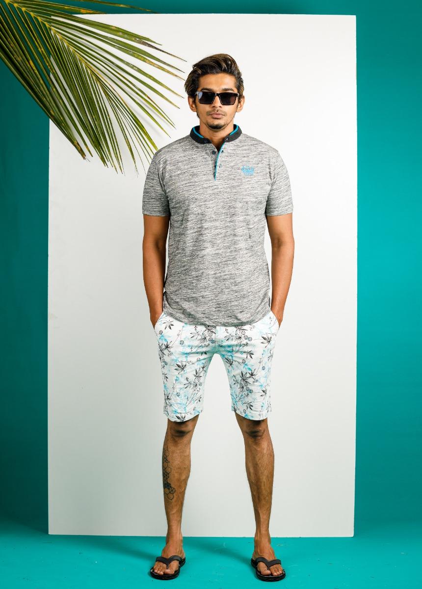 Men White  Brown & Blue Printed Regular Fit Chino Shorts