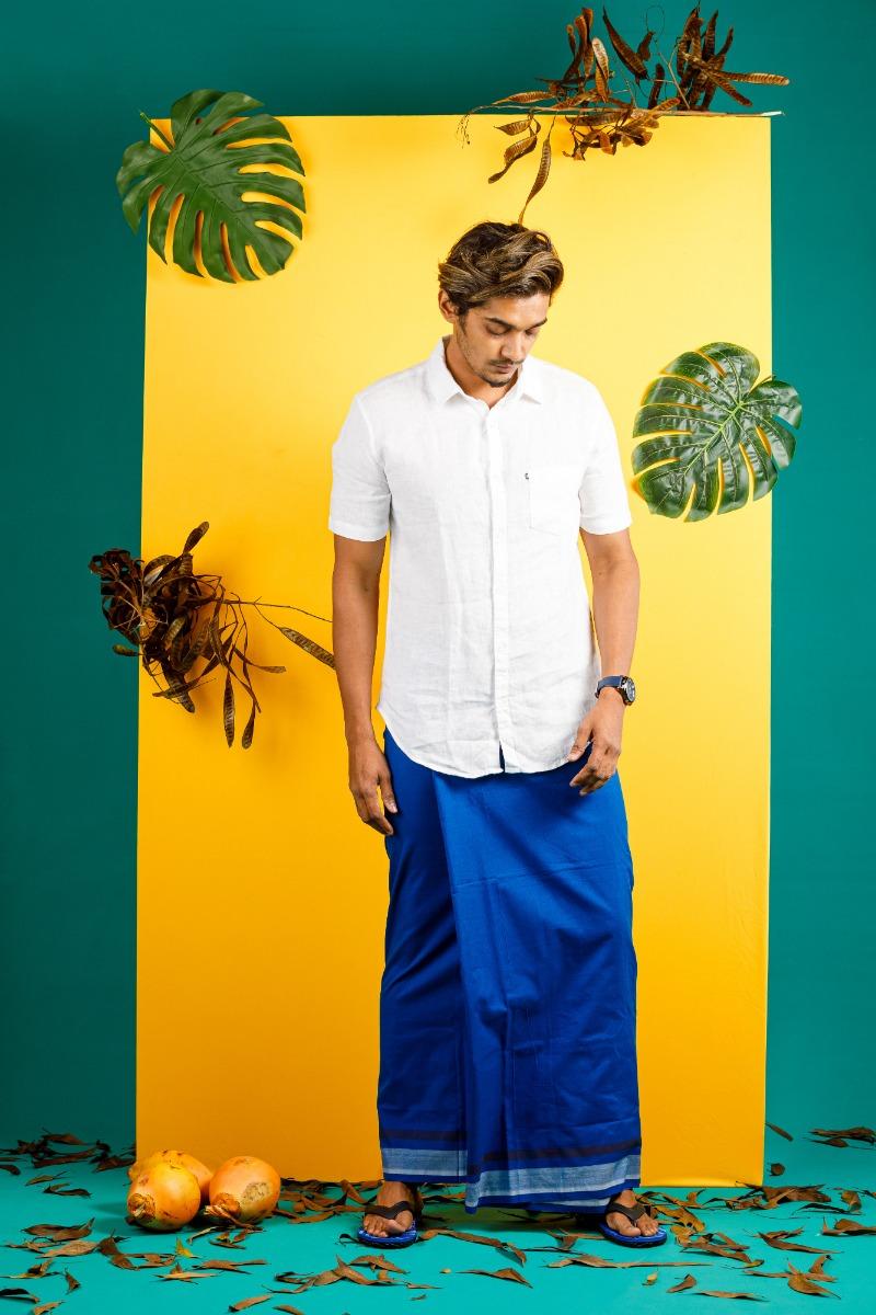 Mens Blue  Colour  Cotton Sarong