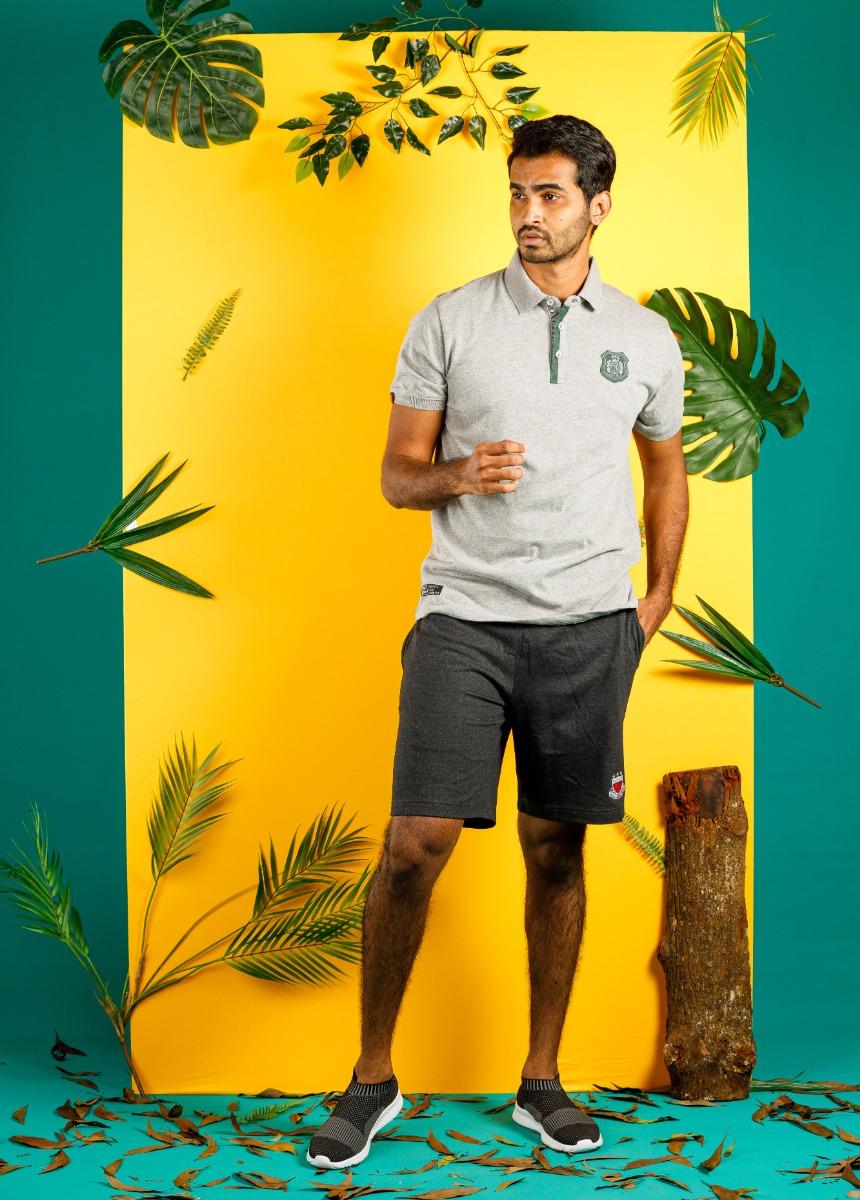 Men Grey Solid Lounge Shorts