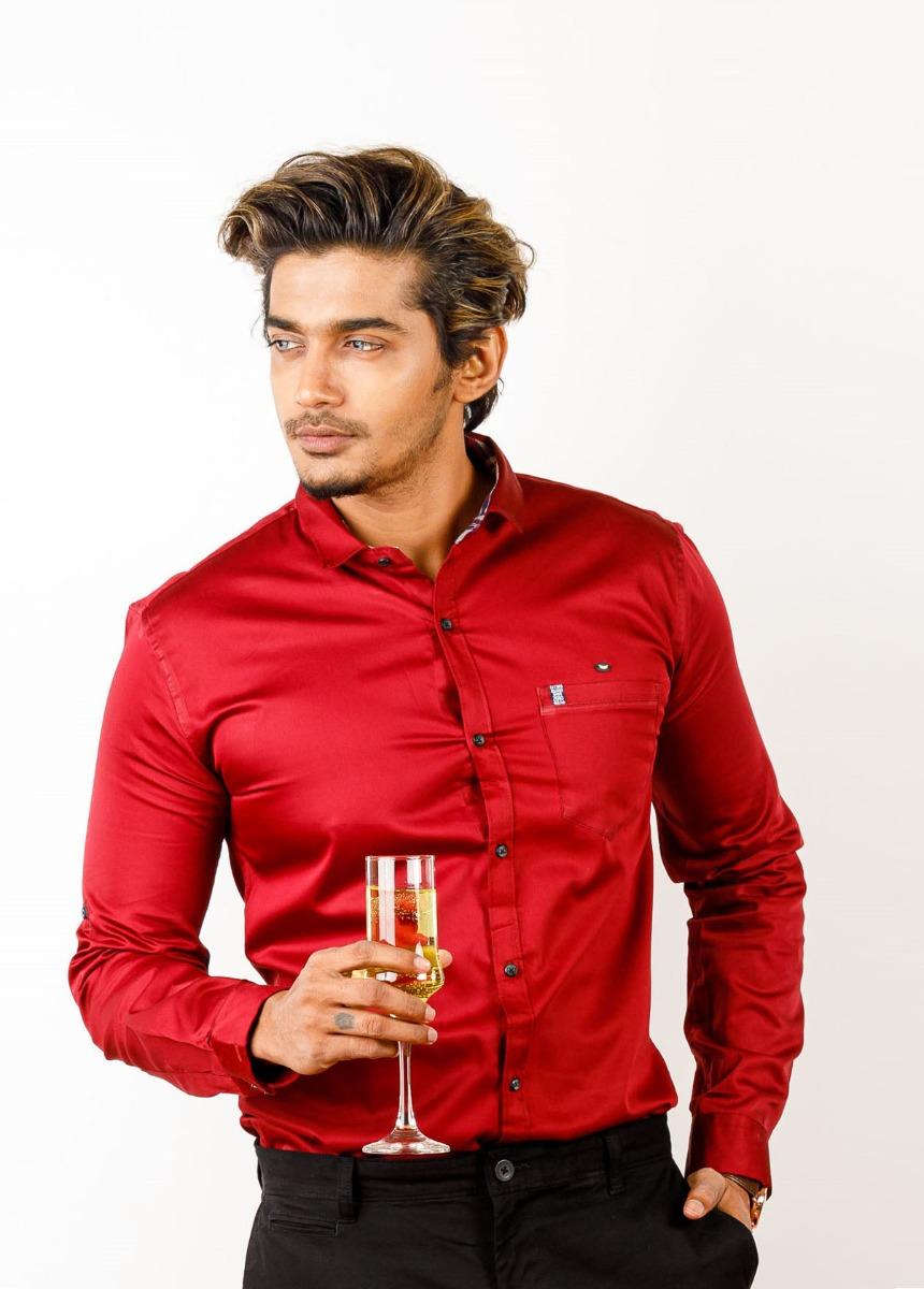 Men's Red Slim Fit Formal Shirt