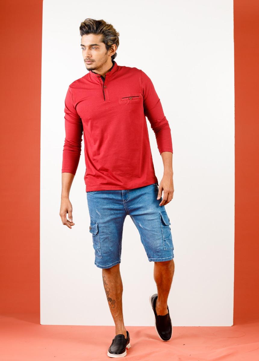 Men Blue Washed Slim Fit Denim Shorts