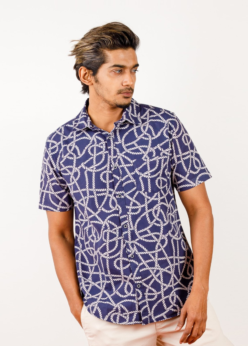 Men Blue & White Slim Fit Printed Casual Shirt