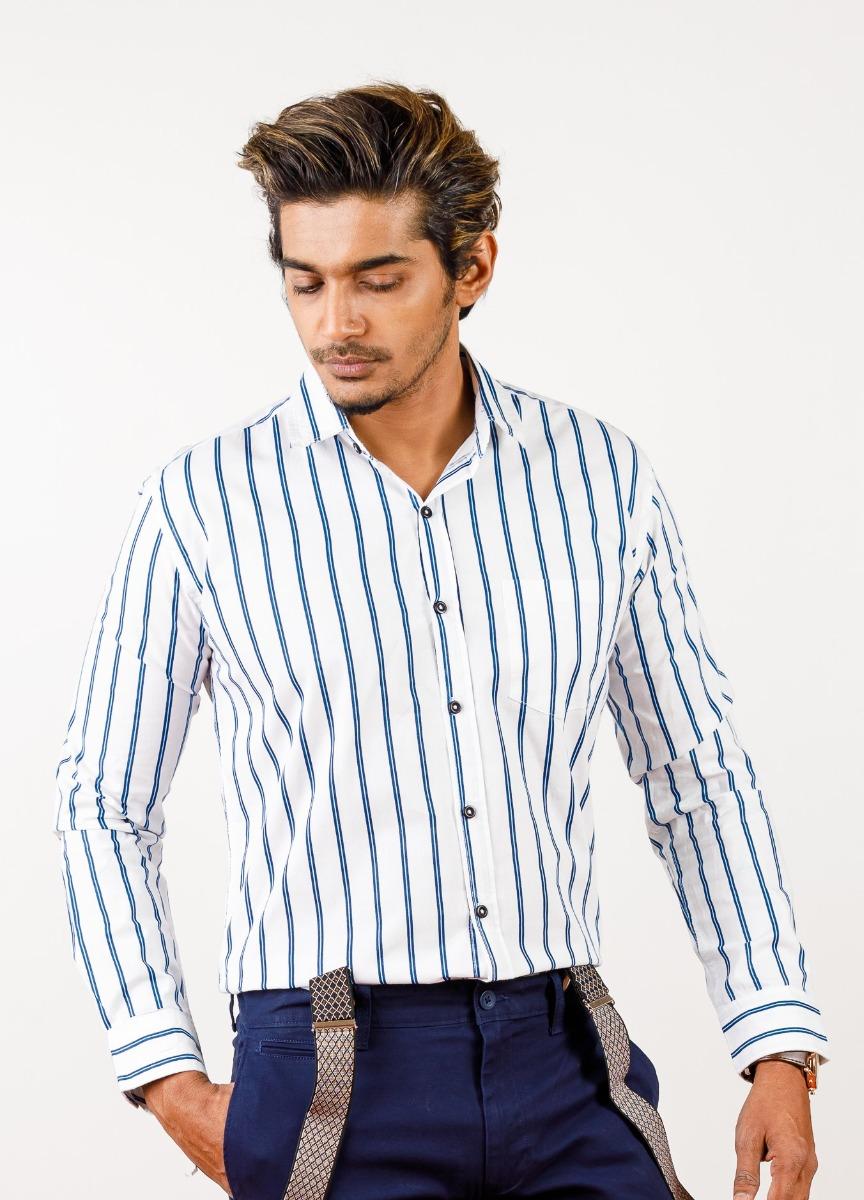 Men's  White & Blue Slim Fit Striped Formal Shirt