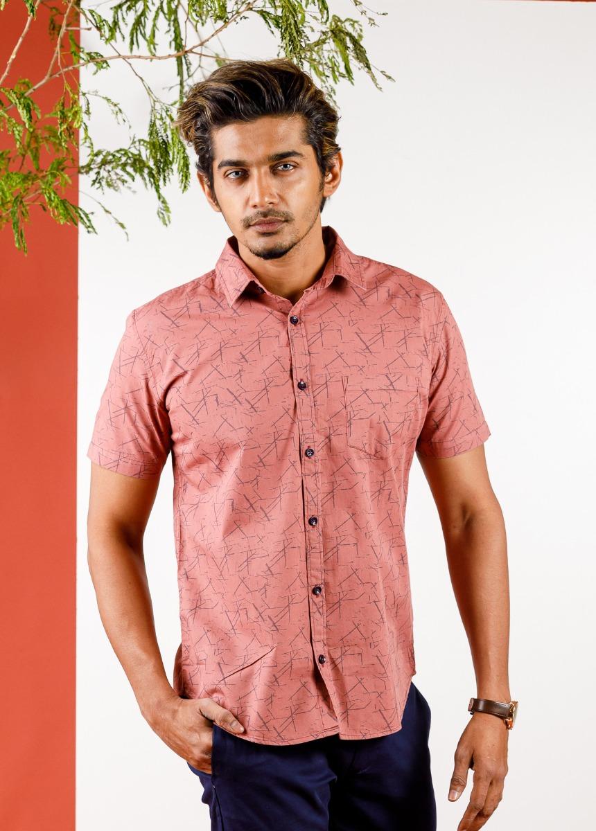 Men Pink & Blue   Slim Fit Printed Casual Shirt