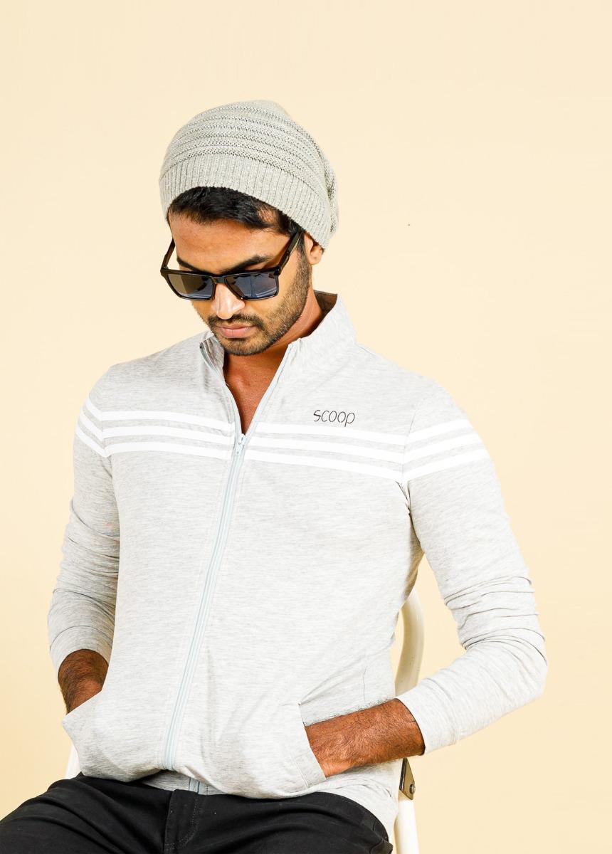Men White  Striped Polo Collar T-shirt