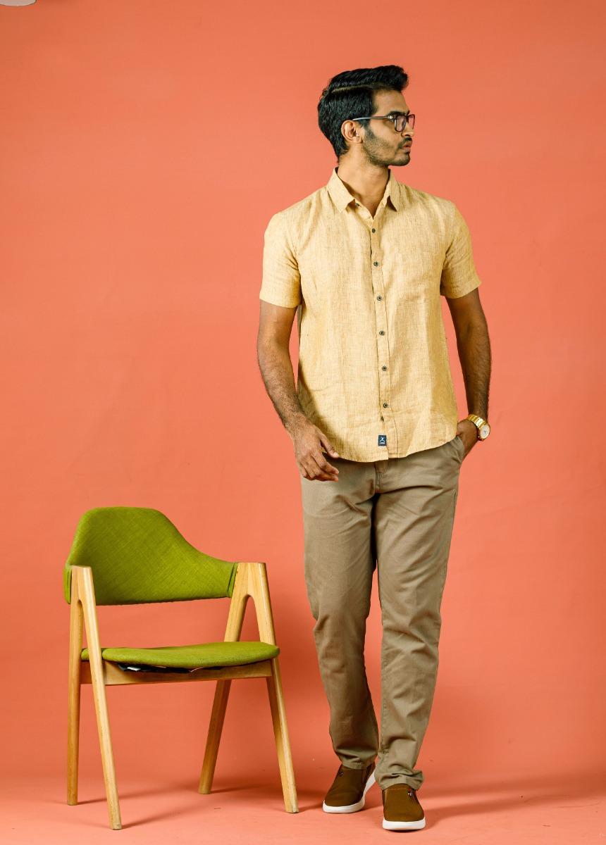 Men Brown Beige Casual Trouser