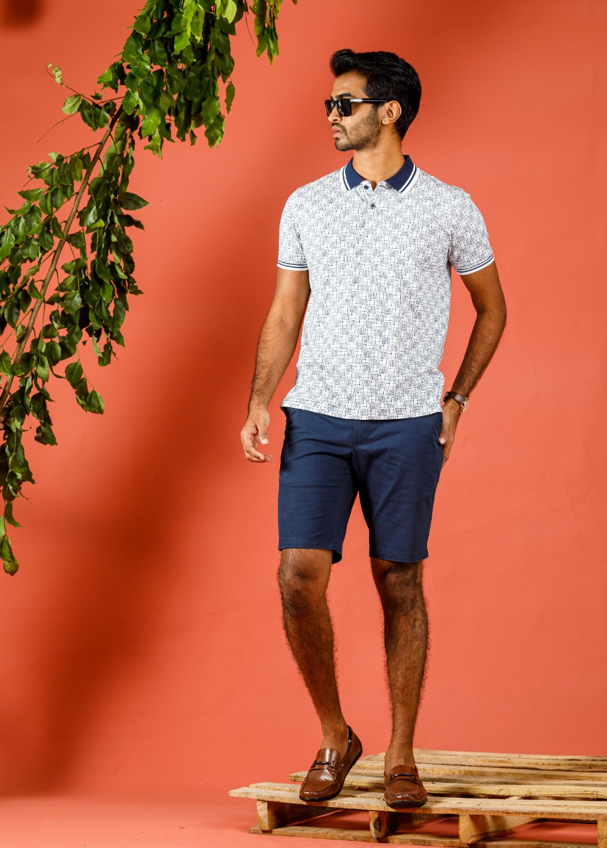 Men Blue Solid Slim Fit Chino Shorts